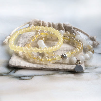 Armbandsset Hope - (månsten, gul bergkristall, jade)