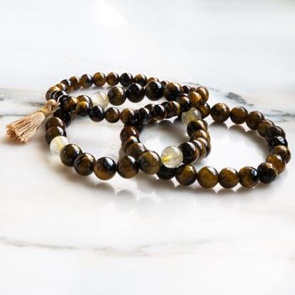 Armbandsset Lucky - (tigeröga, gul bergkristall)