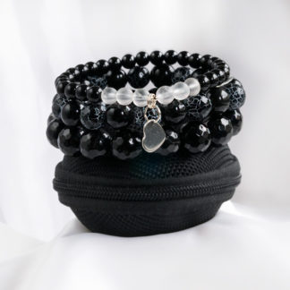 Armbandsset Magical - (obisidan, krackelerad agat, onyx, bergkristall)