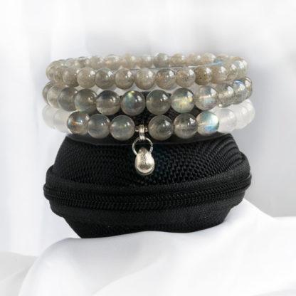 Armbandsset Moonstone - (grå Månsten, vit Jade, Labradonit)