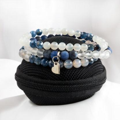 Armbandsset Nightsky - (kyanit, månsten, bergkristall, fasettslipad sodalit, agat)