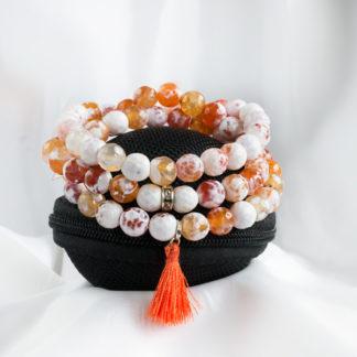 Armbandsset Orange - (orange och vit fasettslipad agat)