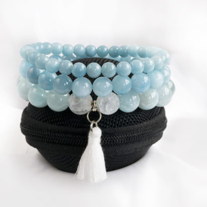 Armbandsset Positive - (akvamarin, bergkristall)