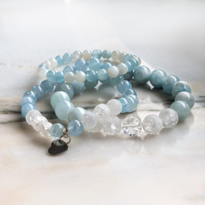 Armbandsset - Pure Water (akvamarin, månsten, krackelerad bergkristall)
