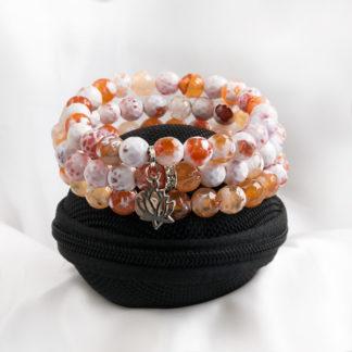 Armbandsset Secure - (vit och orange fasettslipad agat)