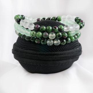 Armbandsset Vision - (rubin zoisit, prehnit, jade, bergkristall)
