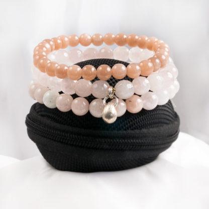 Armbandsset Look - (orange månsten, rosenkvarts, morganit)