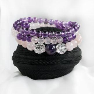 Armbandsset Quiet - (rosenkvarts, ametist, bergkristall)