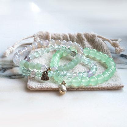 Armbandsset Relax - (grön aventurin, fasettslipad fluorit, agat)