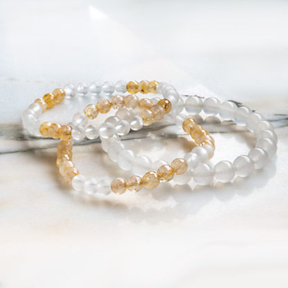 Armbandsset Silent - (Vit jade, citrin, bergkristall)