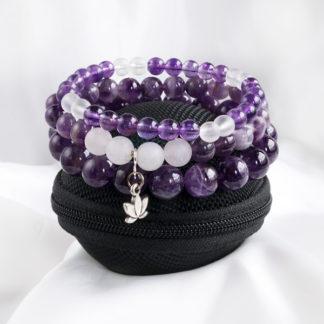 Armbandsset Protection - (ametist, bergkristall)