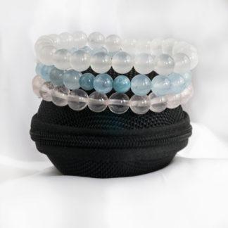 Armbandsset Love Ice - (is jade, is rosenkvarts, vit jade)