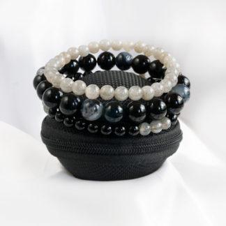Armbandsset Presence - (Obisidan, opal, grå månsten)