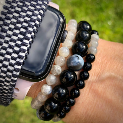 Armbandsset Presence - (Obisidan, onyx, opal, grå månsten)