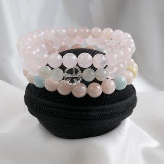 Armbandsset Rest - (morganit, rosenkvarts, månsten, bergkristall-blomma)