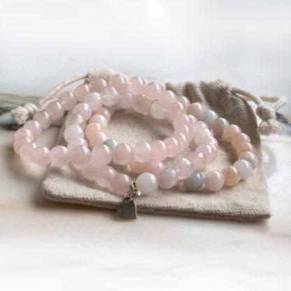 Armbandsset Light Pink - (rosenkvarts, morganit)