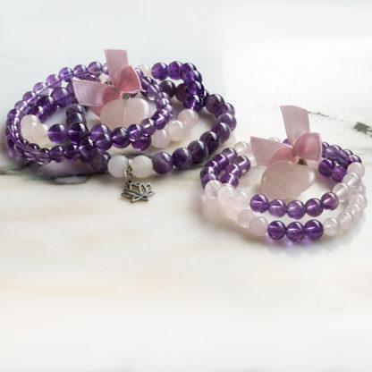 Armbandsset SatNam - (fem armband av ametist, rosenkvarts, bergkristall)