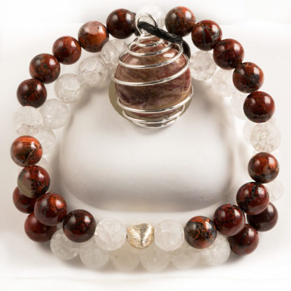 Smyckeset Natural Beauty - (röd jaspis, krackelerad bergkristall)
